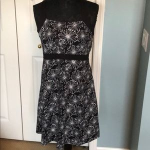 Black and white casual polyester spandex dress